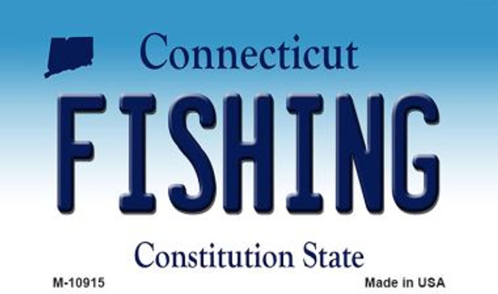 Fishing Connecticut State License Plate Magnet M-10915