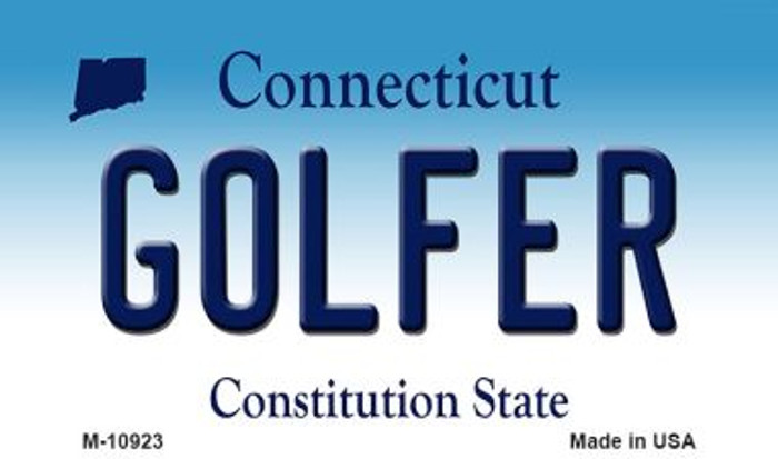Golfer Connecticut State License Plate Magnet M-10923