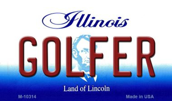 Golfer Illinois State License Plate Magnet M-10314