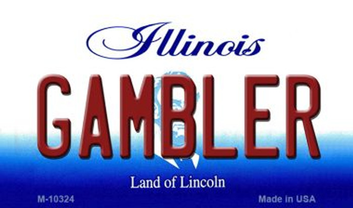 Gambler Illinois State License Plate Magnet M-10324