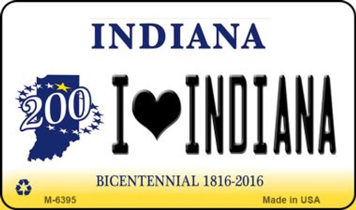 I Love Indiana State License Plate Novelty Magnet M-6395
