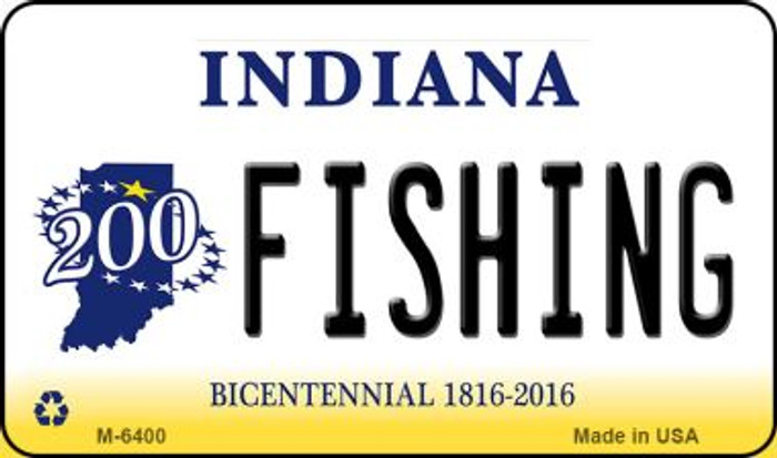 Fishing Indiana State License Plate Novelty Magnet M-6400