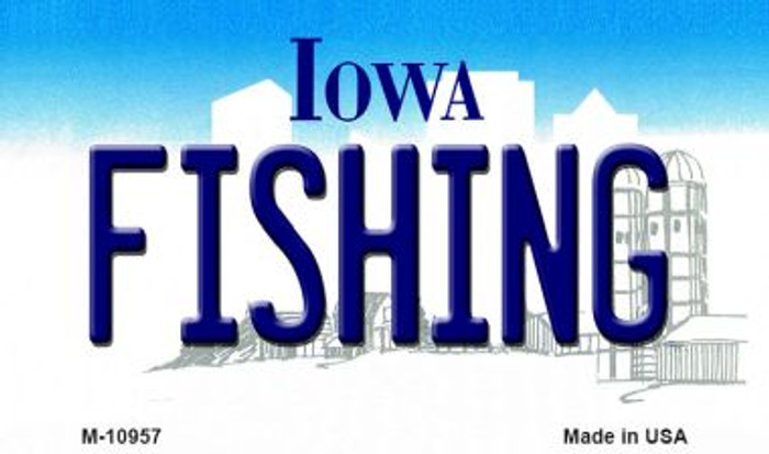 Fishing Iowa State License Plate Novelty Magnet M-10957