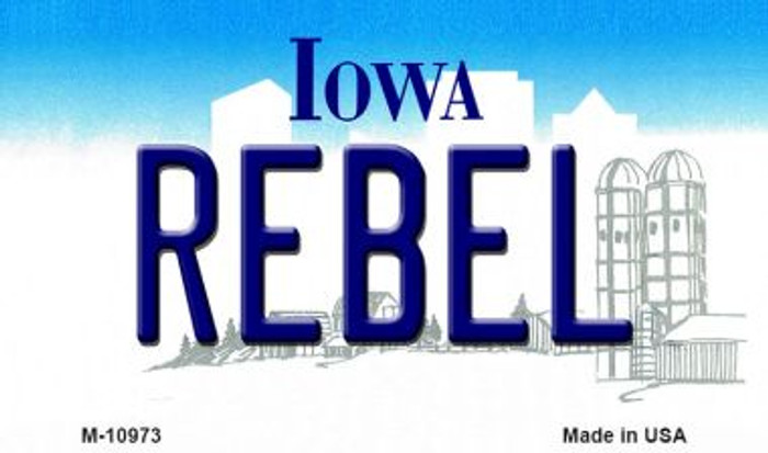 Rebel Iowa State License Plate Novelty Magnet M-10973