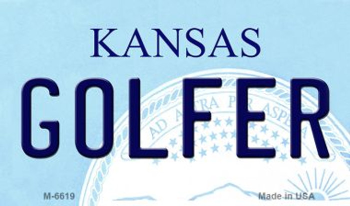 Golfer Kansas State License Plate Novelty Magnet M-6619