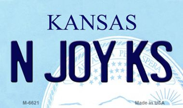 N Joy KS Kansas State License Plate Novelty Magnet M-6621