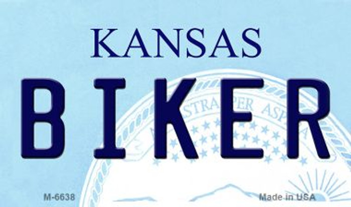 Biker Kansas State License Plate Novelty Magnet M-6638