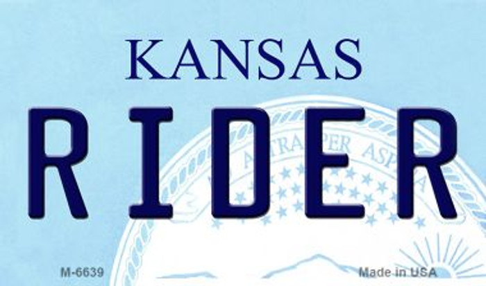 Rider Kansas State License Plate Novelty Magnet M-6639