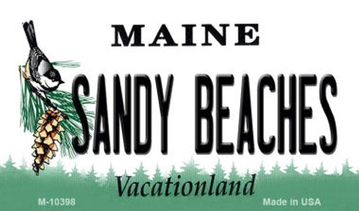 Sandy Beaches Maine State License Plate Magnet M-10398