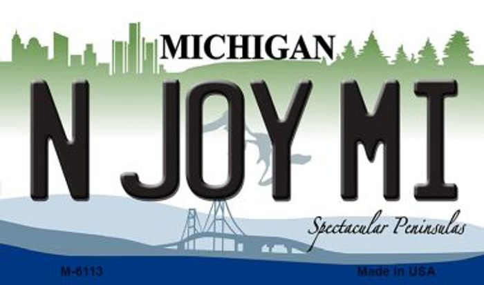 N Joy MI Michigan State License Plate Novelty Magnet M-6113