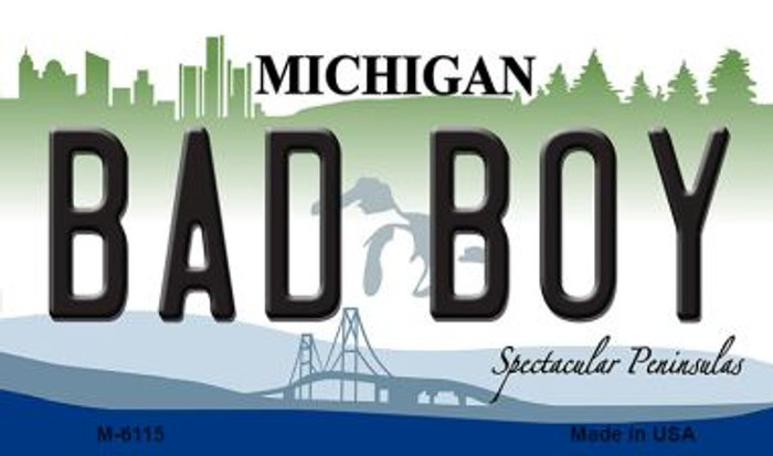 Bad Boy Michigan State License Plate Novelty Magnet M-6115
