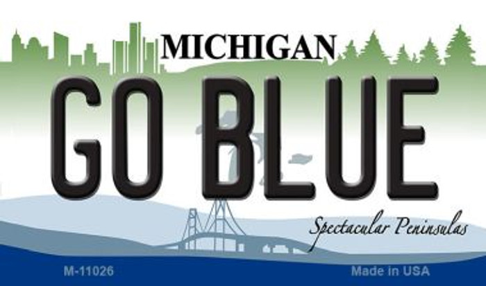 Go Blue Michigan State License Plate Novelty Magnet M-11026