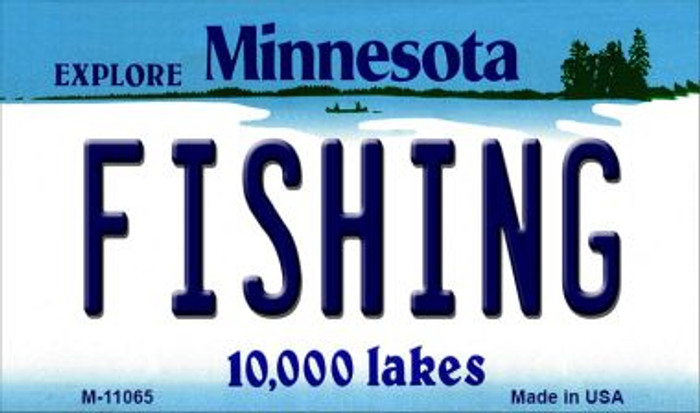 Fishing Minnesota State License Plate Novelty Magnet M-11065
