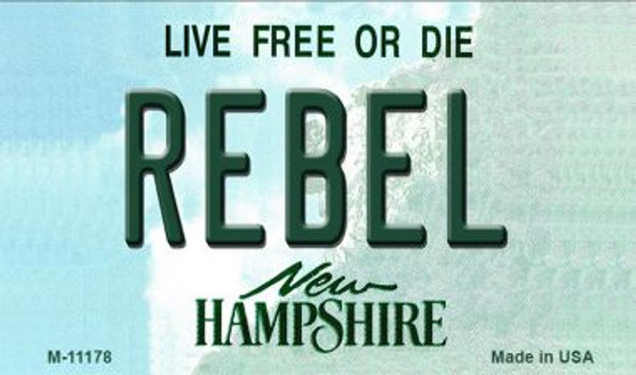 Rebel New Hampshire State License Plate Magnet M-11178