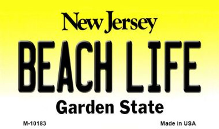 Beach Life New Jersey State License Plate Magnet M-10183