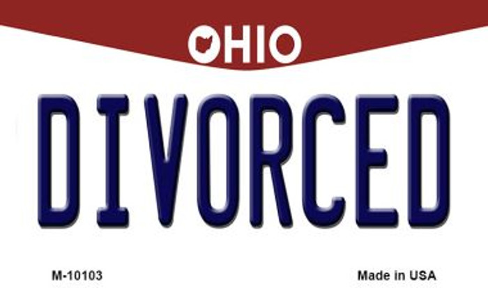 Divorced Ohio State License Plate Magnet M-10103