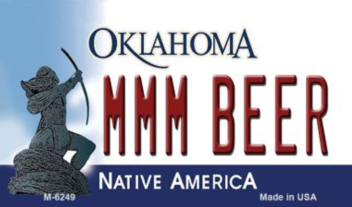 MMM Beer Oklahoma State License Plate Novelty Magnet M-6249