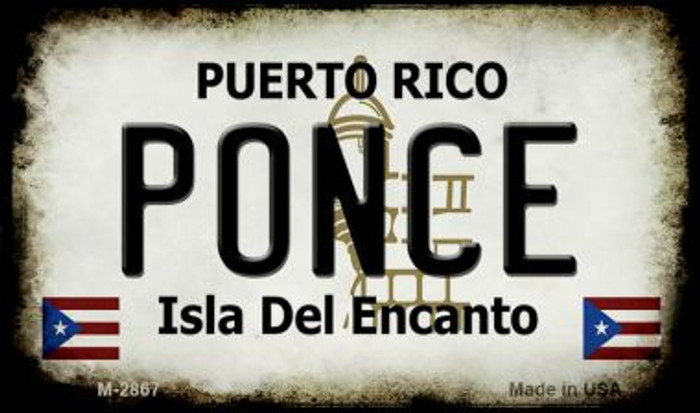 Ponce Puerto Rico State License Plate Magnet M-2867