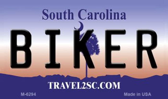 Biker South Carolina State License Plate Magnet M-6294