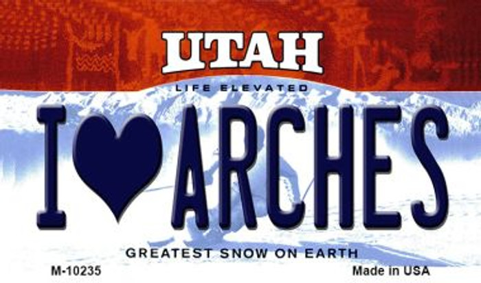 I Love Arches Utah State License Plate Magnet M-10235