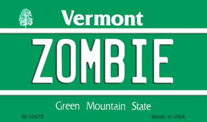 Zombie Vermont State License Plate Novelty Magnet M-10679