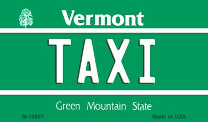 Taxi Vermont State License Plate Novelty Magnet M-10687