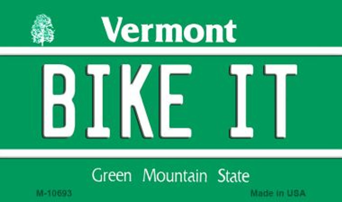 Bike It Vermont State License Plate Novelty Magnet M-10693