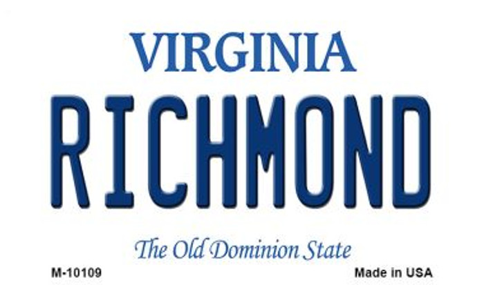 Richmond Virginia State License Plate Magnet M-10109