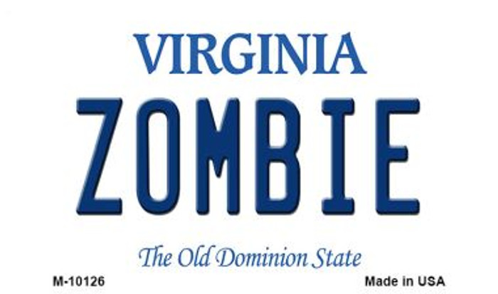 Zombie Virginia State License Plate Magnet M-10126