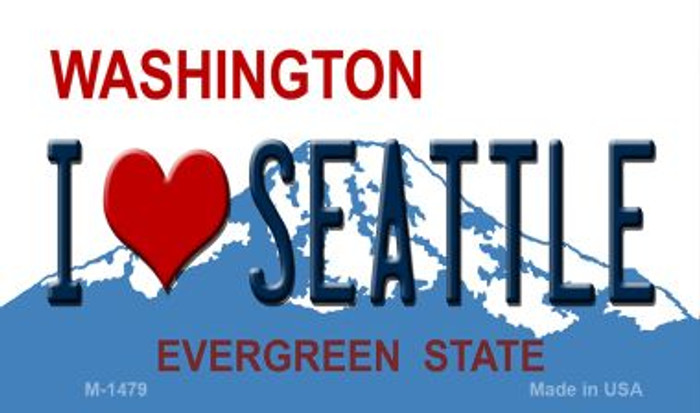 I Love Seattle Washington State License Plate Magnet M-1479