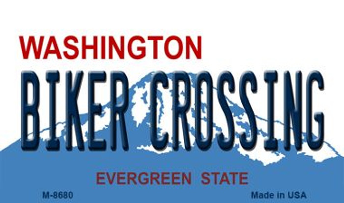 Biker Crossing Washington State License Plate Magnet M-8680