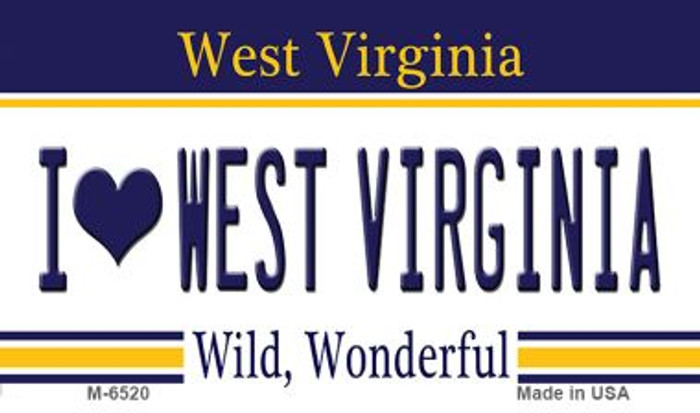 I Love West Virginia State License Plate Magnet M-6520