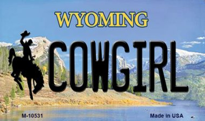 Cowgirl Wyoming State License Plate Magnet M-10531