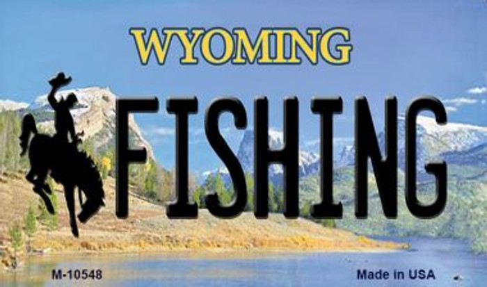 Fishing Wyoming State License Plate Magnet M-10548
