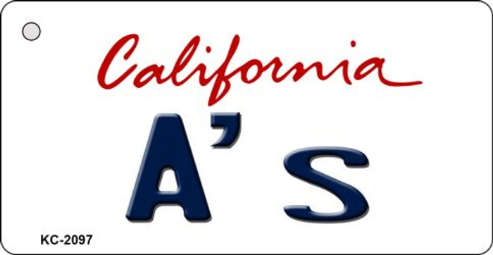 A's California State License Plate Key Chain KC-2097