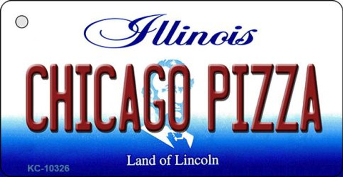 Chicago Pizza Illinois State License Plate Key Chain KC-10326