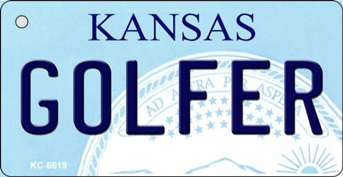 Golfer Kansas State License Plate Novelty Key Chain KC-6619