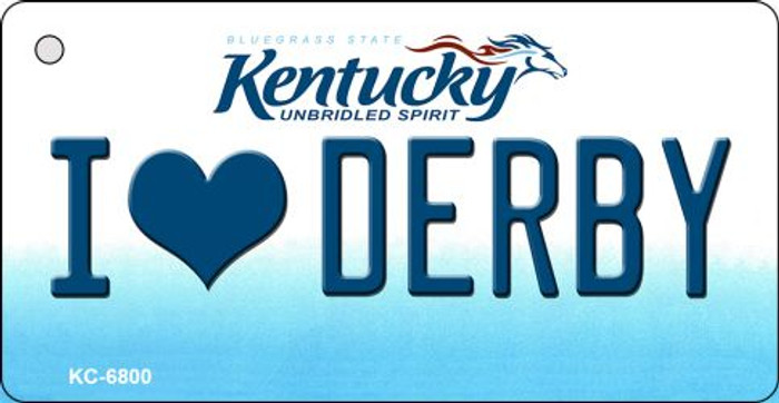 I Love Derby Kentucky State License Plate Novelty Key Chain KC-6800