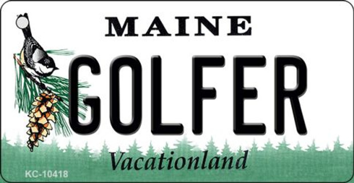 Golfer Maine State License Plate Key Chain KC-10418