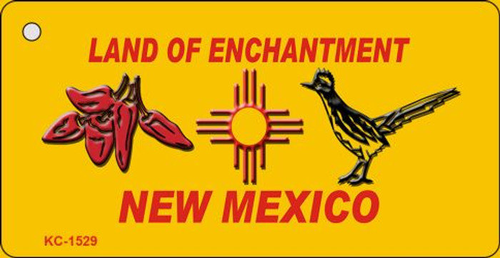 Red Chili and Road Runner Yellow New Mexico Novelty Key Chain KC-1529
