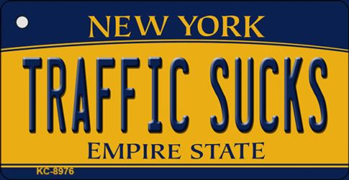 Traffic Sucks New York State License Plate Key Chain KC-8976
