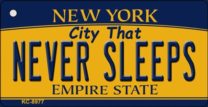 Never Sleeps New York State License Plate Key Chain KC-8977