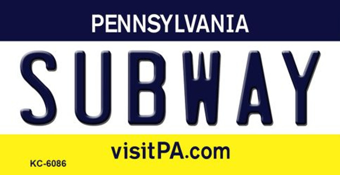 Subway Pennsylvania State License Plate Key Chain KC-6086