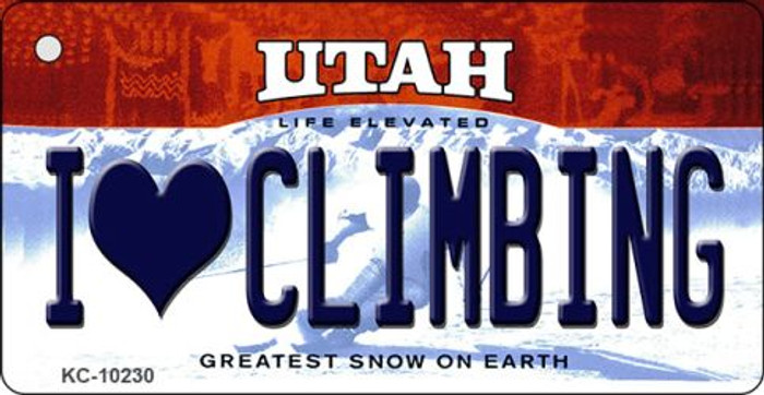 I Love Climbing Utah State License Plate Key Chain KC-10230