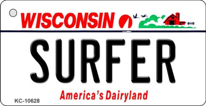 Surfer Wisconsin License Plate Novelty Key Chain KC-10628