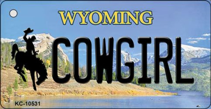 Cowgirl Wyoming State License Plate Key Chain KC-10531