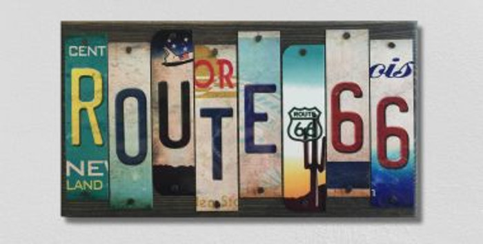 Route 66 License Plate Strip Novelty Wood Sign WS-005