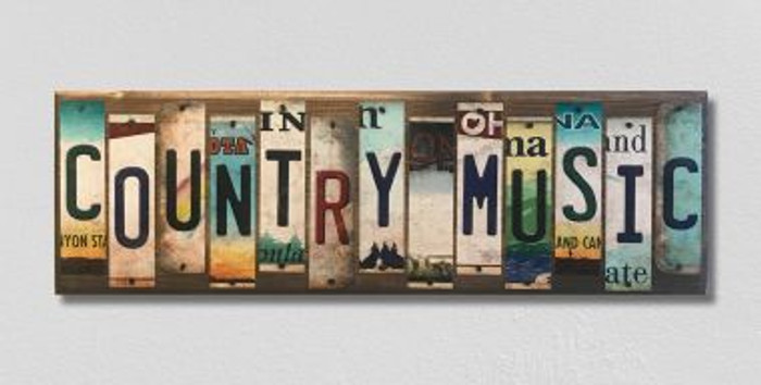 Country Music License Plate Strip Novelty Wood Sign WS-022