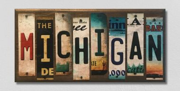 Michigan License Plate Strip Novelty Wood Sign WS-028