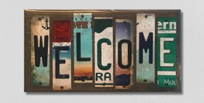 Welcome License Plate Strip Novelty Wood Sign WS-039